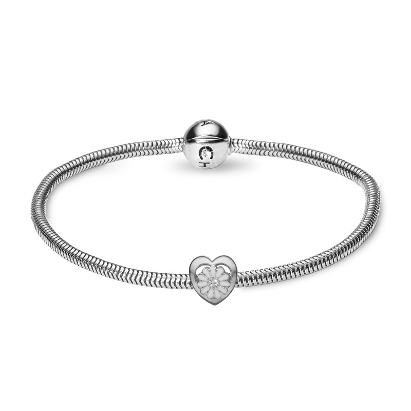 Christina Støt Brysterne Kampagne armbånd i sølv med sølv/hvid marguerit
