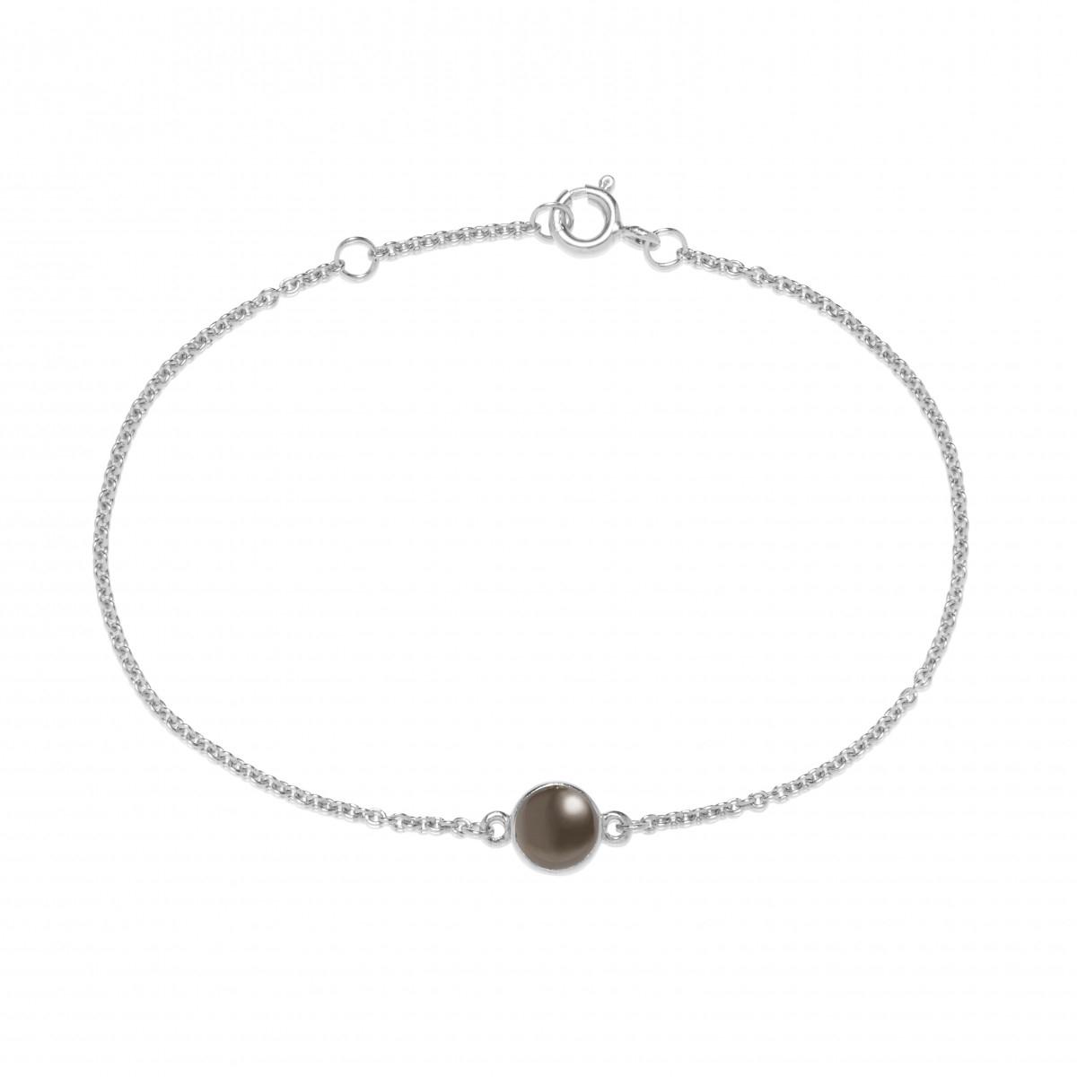 Image of   Carré sølv armbånd med grå månesten