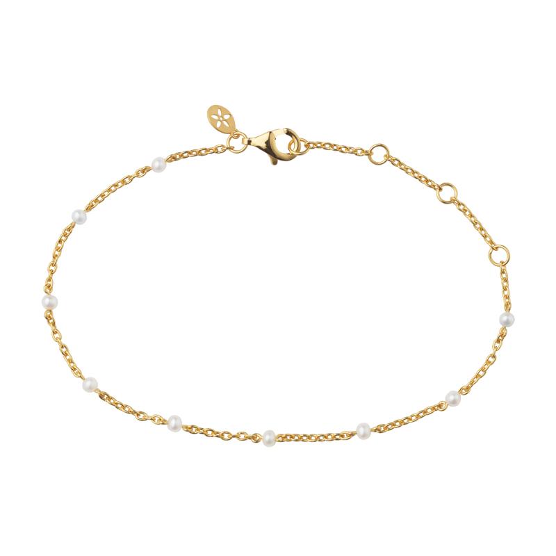 Image of   Bybiehl Scarlett forgyldt armbånd med perler, 20 cm