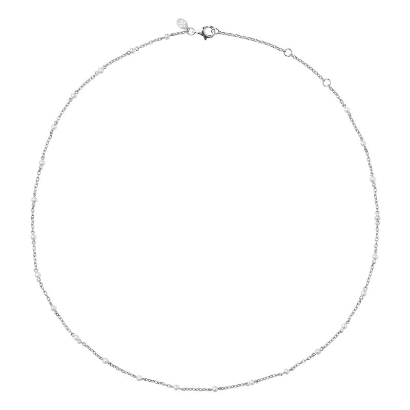 Image of   Bybiehl Scarlett sølv halskæde med perler, 45 cm