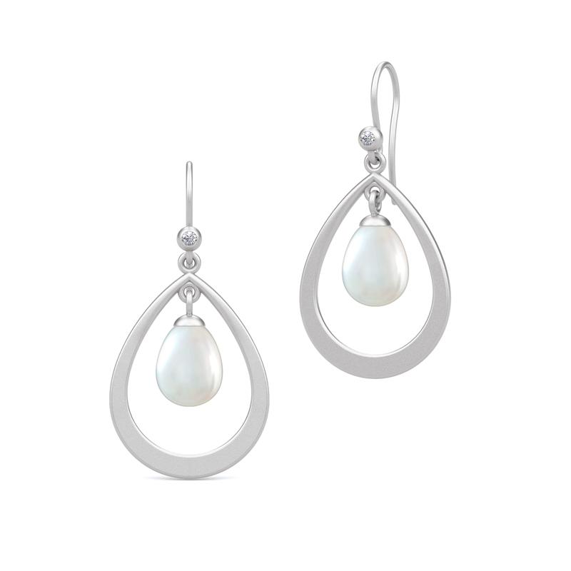 Image of   Julie Sandlau Perla ørehænger i sølv med hvid perle