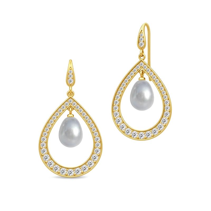 Julie Sandlau Ocean dråbe øreringe i forgyldt med grå perle