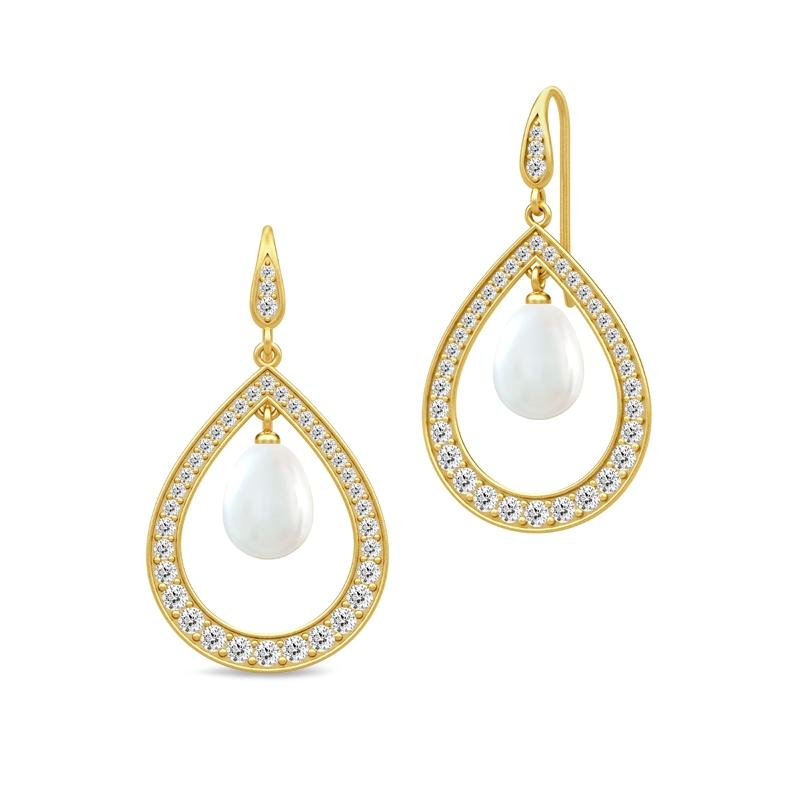 Julie Sandlau Ocean dråbe øreringe i forgyldt med hvid perle
