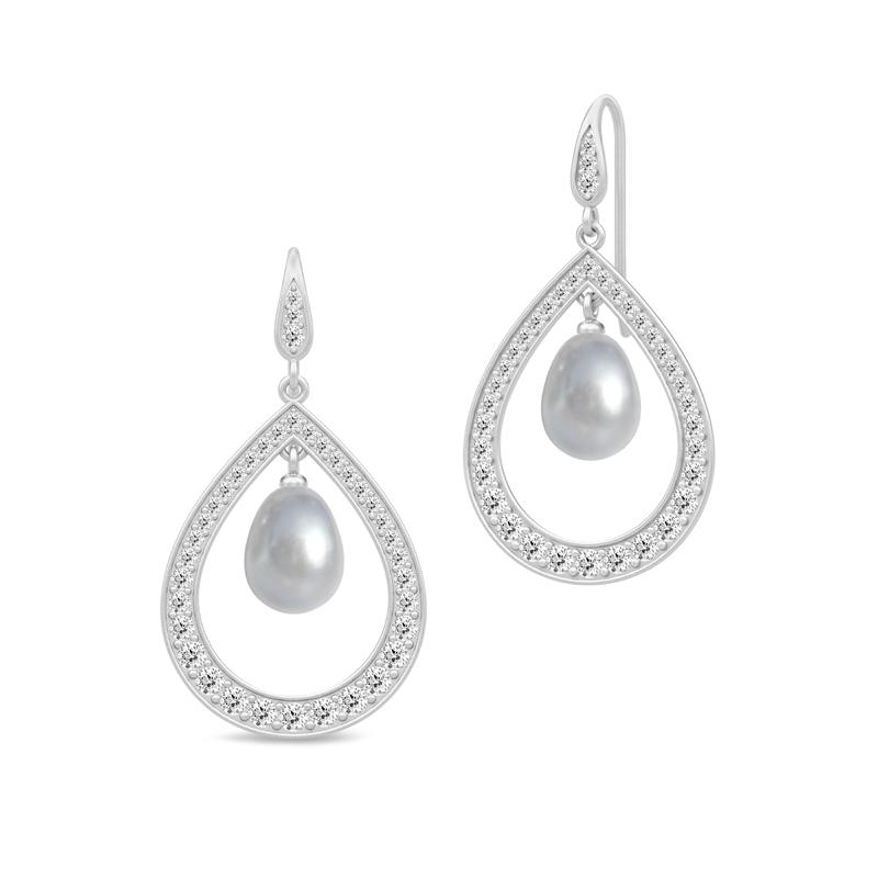 Julie Sandlau Ocean dråbe øreringe i sølv med grå perle