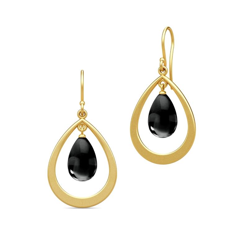 Julie Sandlau Prime Droplet øreringe i forgyldt med sort onyx