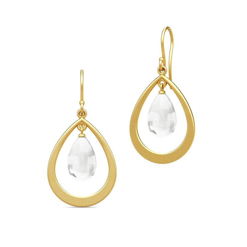 Julie Sandlau Prime Droplet øreringe i forgyldt med klar krystal