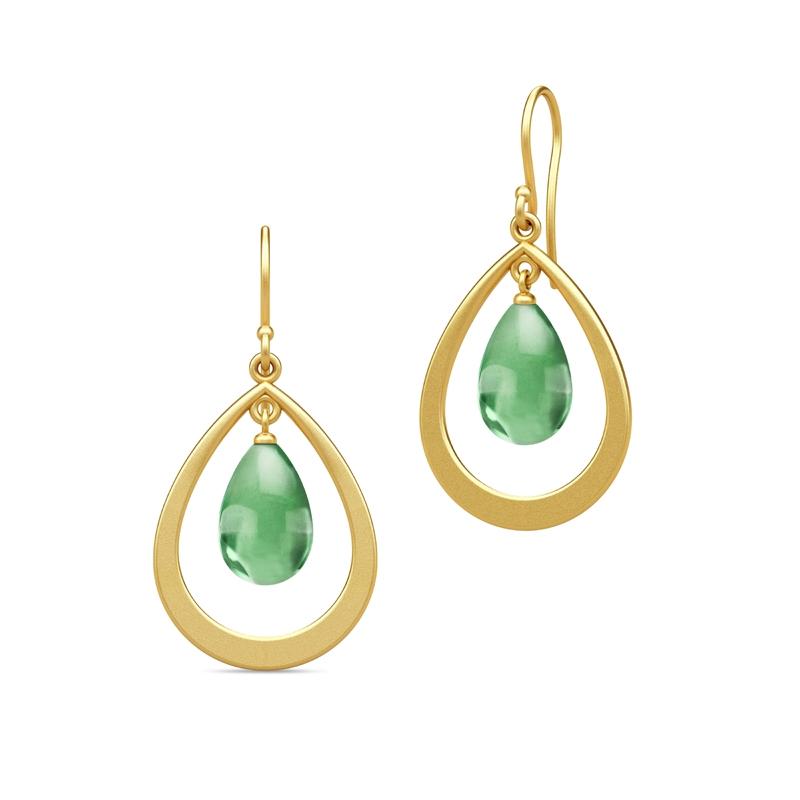 Julie Sandlau Prime Droplet øreringe i forgyldt med grøn krystal