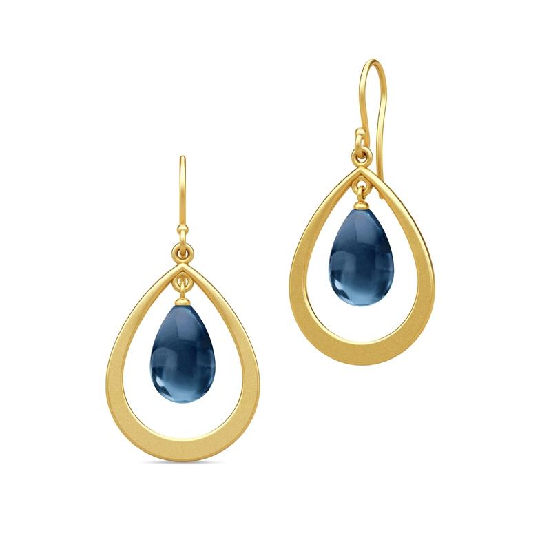 Julie Sandlau Prime Droplet øreringe i forgyldt med safir blå krystal