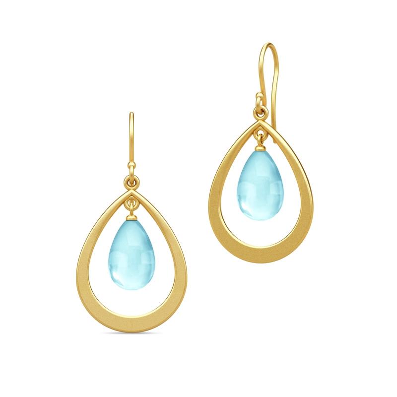 Julie Sandlau Prime Droplet øreringe i forgyldt med sky blue krystal