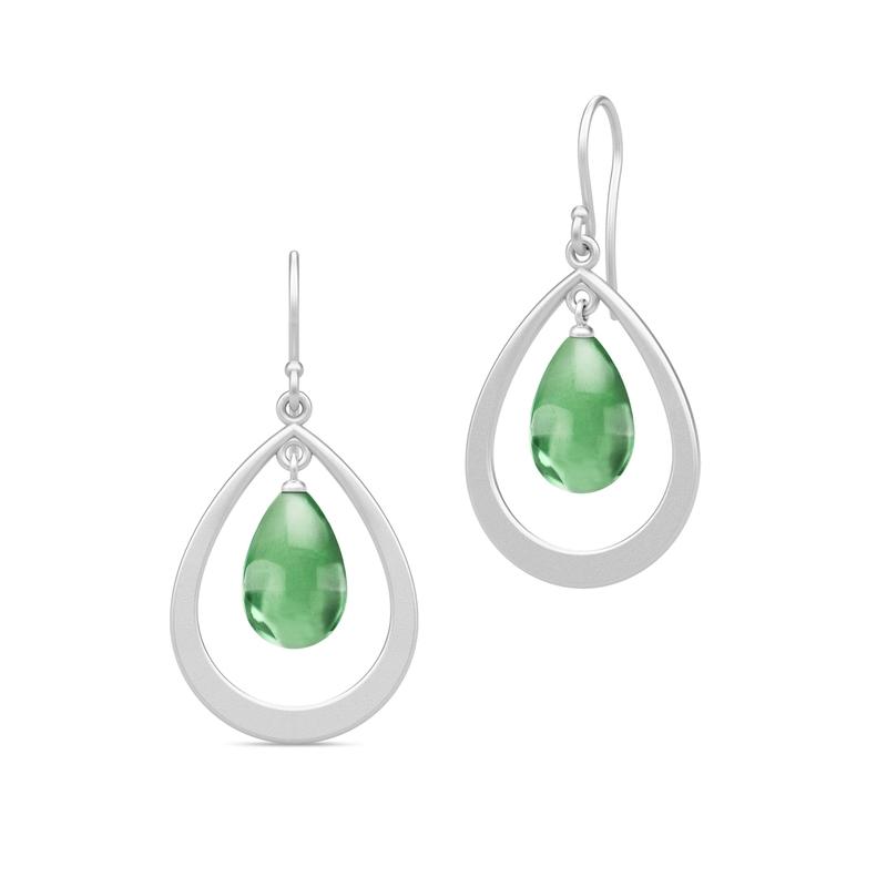 Julie Sandlau Prime Droplet øreringe i sølv med grøn krystal