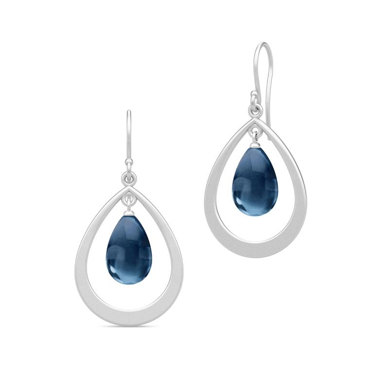 Julie Sandlau Prime Droplet øreringe i sølv med safir blå krystal
