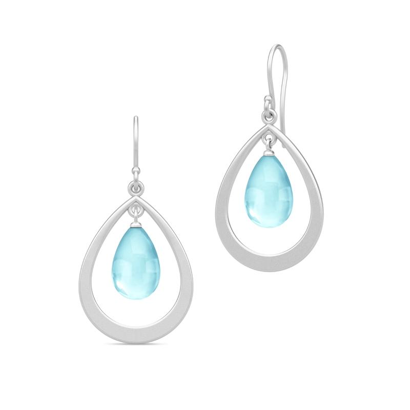 Julie Sandlau Prime Droplet øreringe i sølv med sky blue krystal