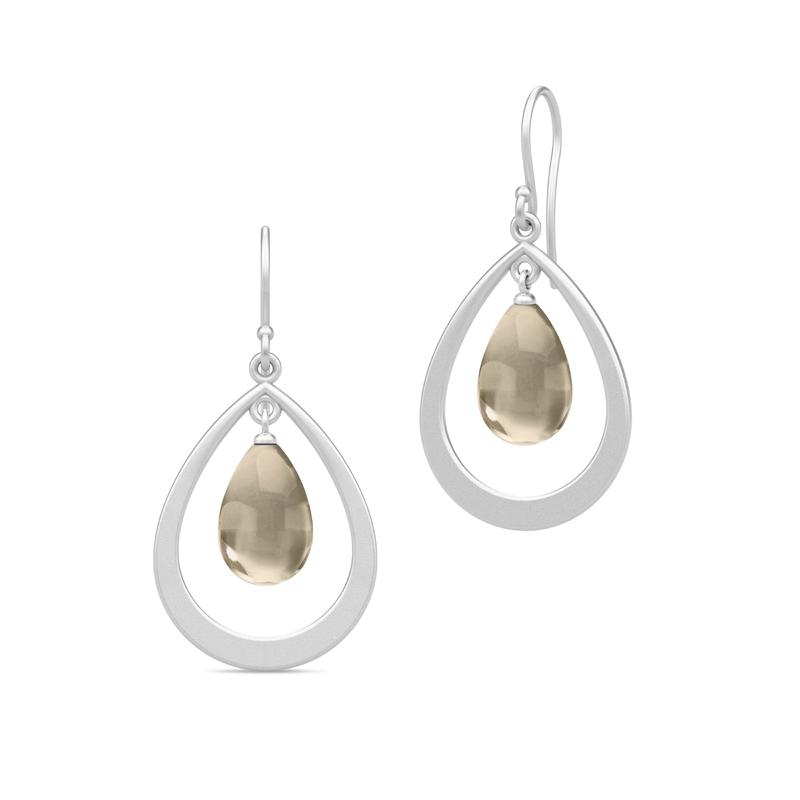 Julie Sandlau Prime Droplet øreringe i sølv med røgfarvet krystal