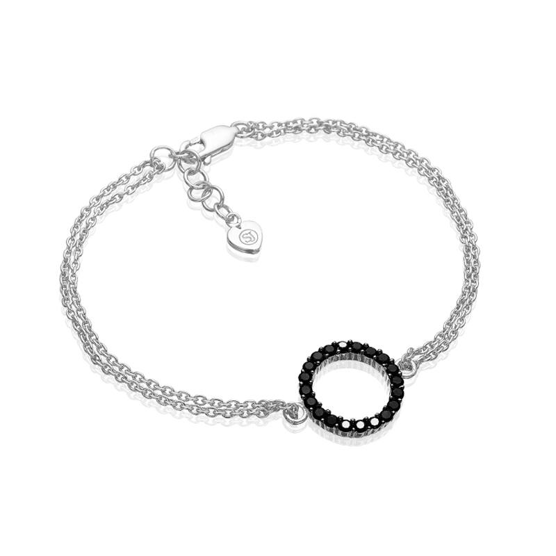 Sif Jakobs Biella Grande cirkel armbånd i sølv med sorte zirkoner