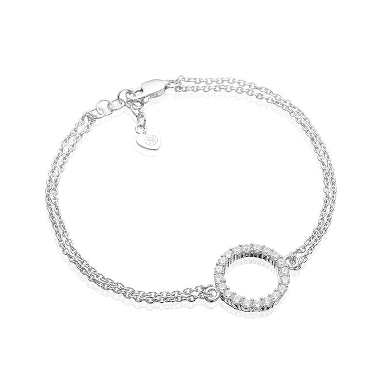 Sif Jakobs Biella Grande cirkel armbånd i sølv med hvide zirkoner