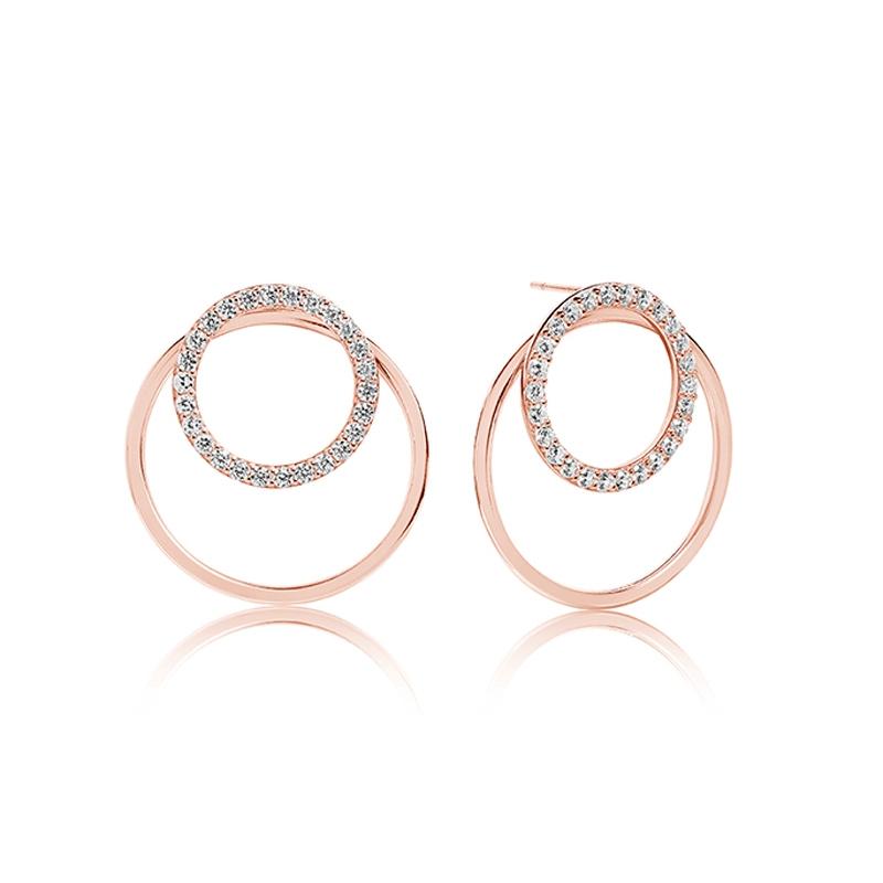 Sif Jakobs Valenza Uno rosaforgyldte øreringe med hvide zirkoner