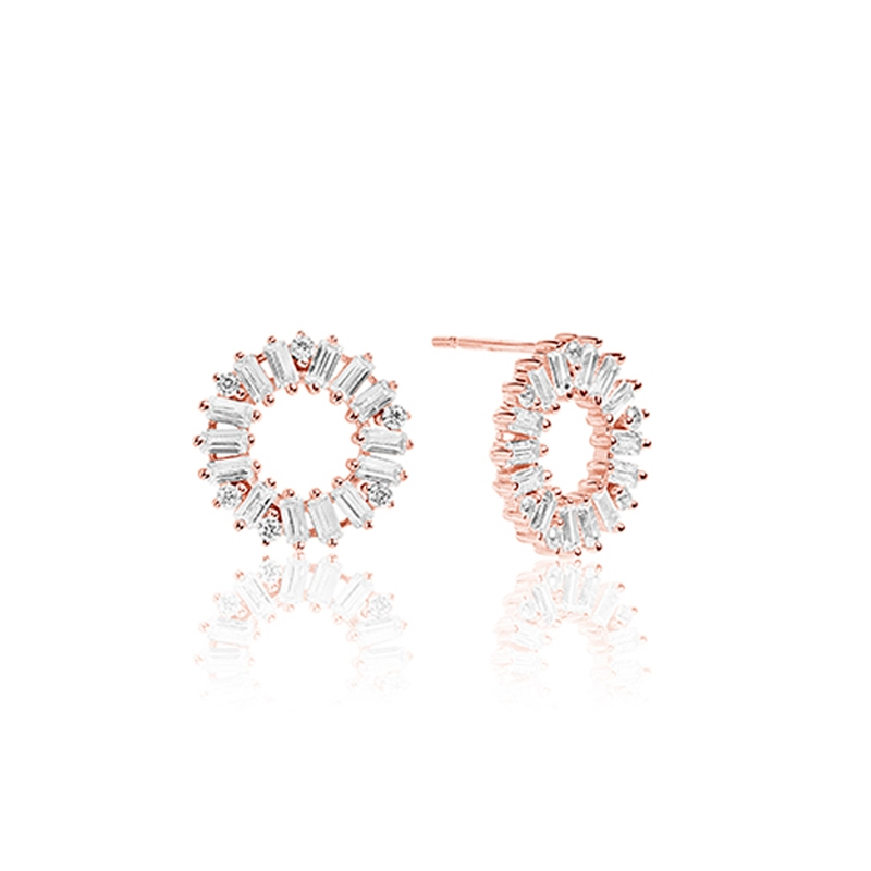 Sif Jakobs Antella Cirkolo ørestikker i rosa forgyldt med hvide zirkoner