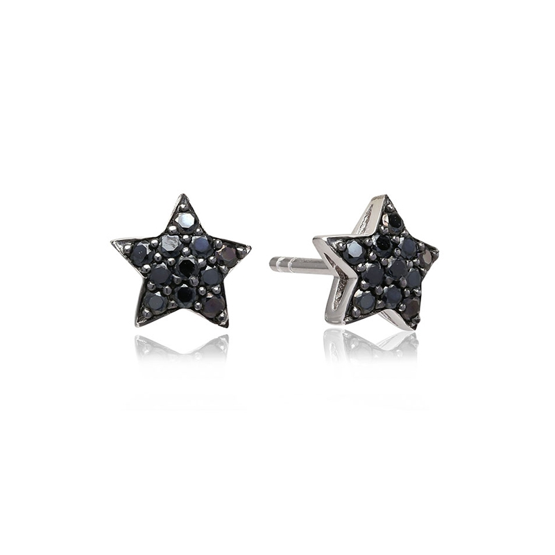 Sif Jakobs Atrani stjerne ørestikker sølv med sorte cz