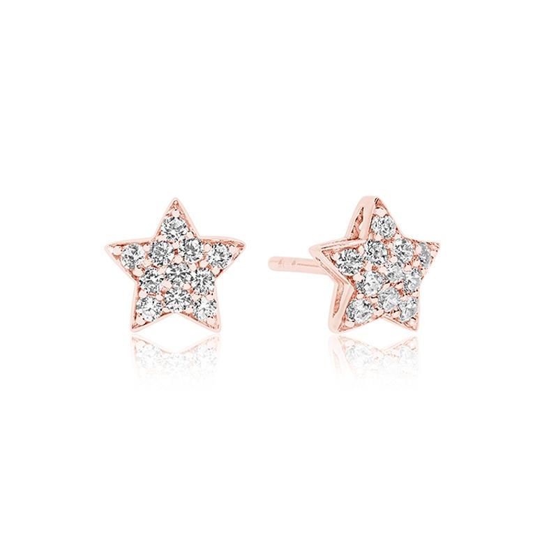 Sif Jakobs Atrani stjerne ørestikker rosa forgyldt med hvide cz