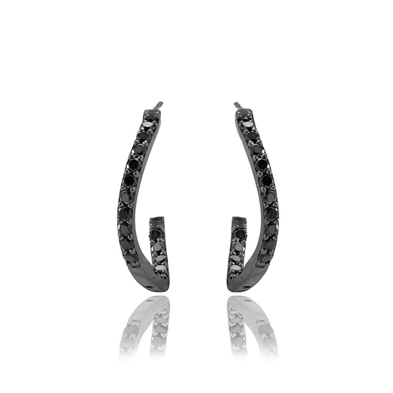 Sif Jakobs Vittoria øreringe i sort sølv med sorte cubic zirkoner