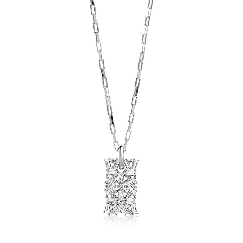 Sif Jakobs Antella halskæde med vedhæng i sølv med hvide zirkoner