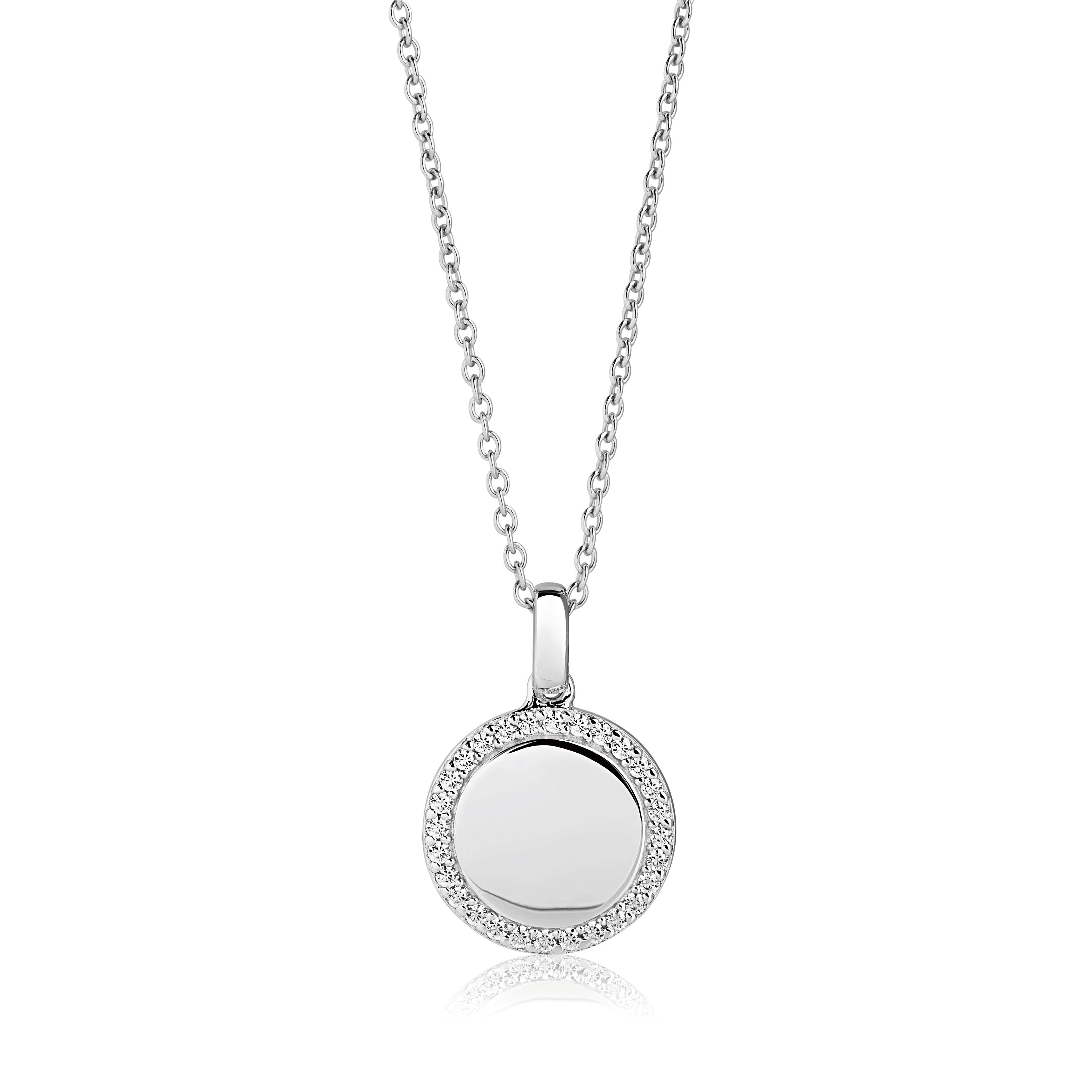 Sif Jakobs Follina halskæde, rundt pladevedhæng i sølv med cubic zirkoner 90 cm