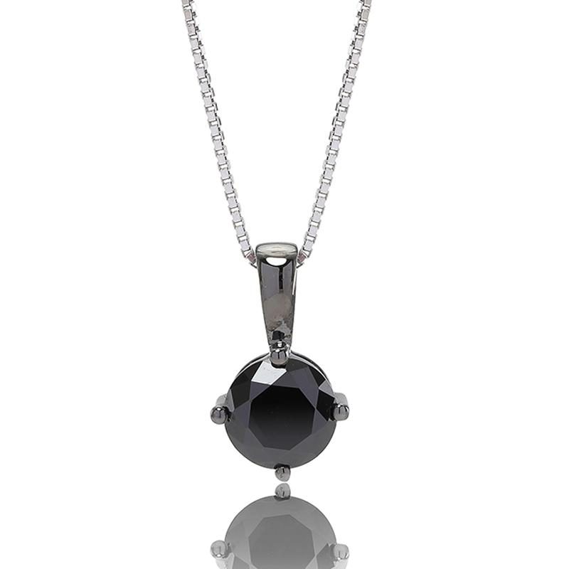 Sif Jakobs sølv halskæde Princess round vedhæng i sort sølv med sort cubic zirkonia Ø 8 mm
