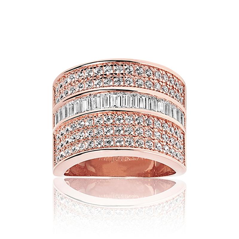 Sif Jakobs Corte Grande ring rosa forgyldt med hvide zirkoner