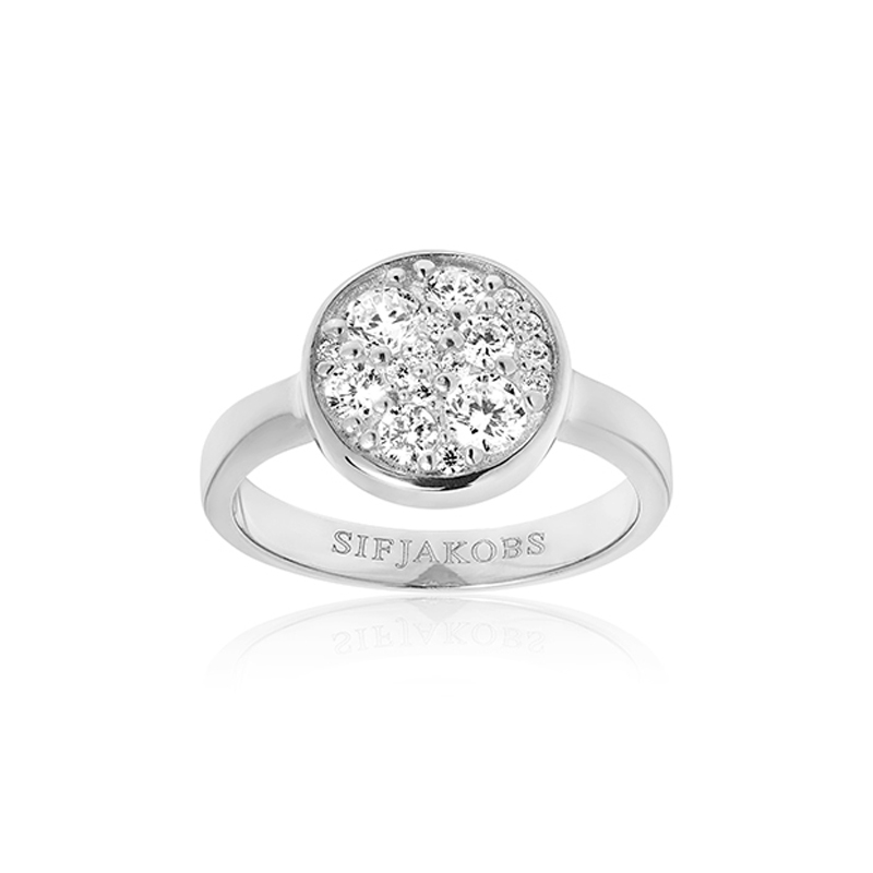 Sif Jakobs Novara sølv ring med rund top med cz