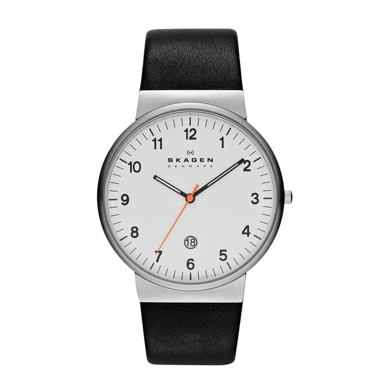 Skagen Ancher armbåndsur i stål/sort læderrem