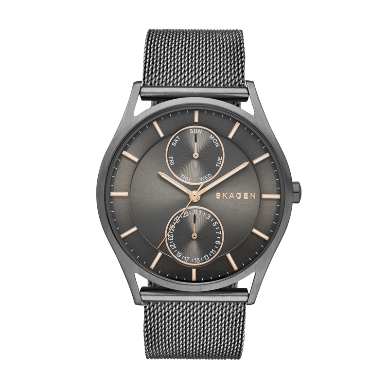 Image of   Skagen Holst multifunction herreur i sort med mesh lænke
