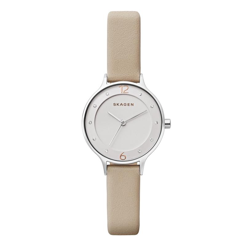 Skagen Anita armbåndsur i stål med beige læderrem
