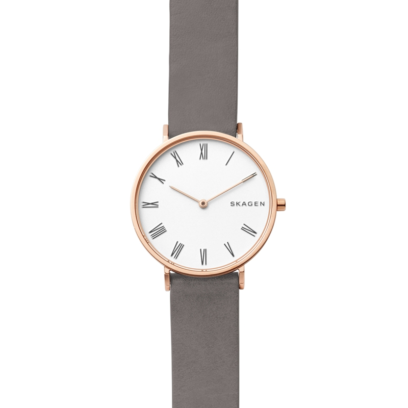 SKAGEN Hald armbåndsur i rosafarvet stål med lys skive og sort rem