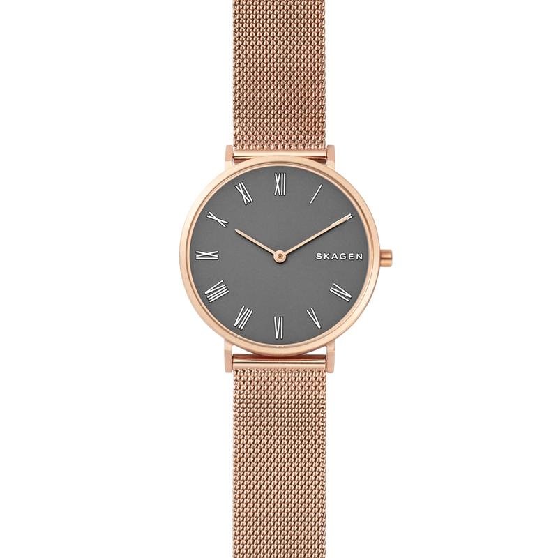 SKAGEN Hald armbåndsur i rosafarvet stål med mørkegrå skive og mesh lænke