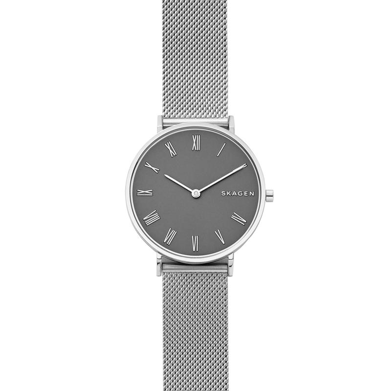 SKAGEN Hald armbåndsur i stål med mørkegrå skive og mesh lænke