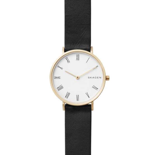 SKAGEN Hald armbåndsur i guldfarvet stål med hvid skive og sort rem