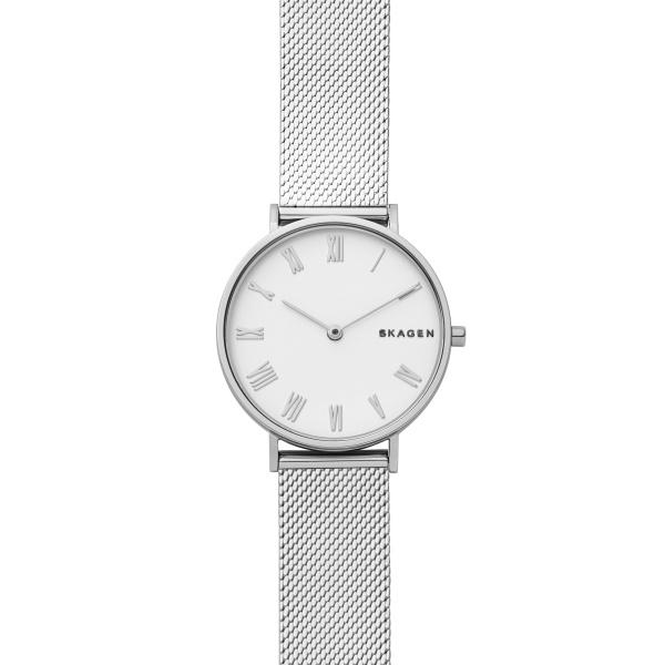 SKAGEN Hald armbåndsur i stål med hvid skive og flad stål mesh lænke