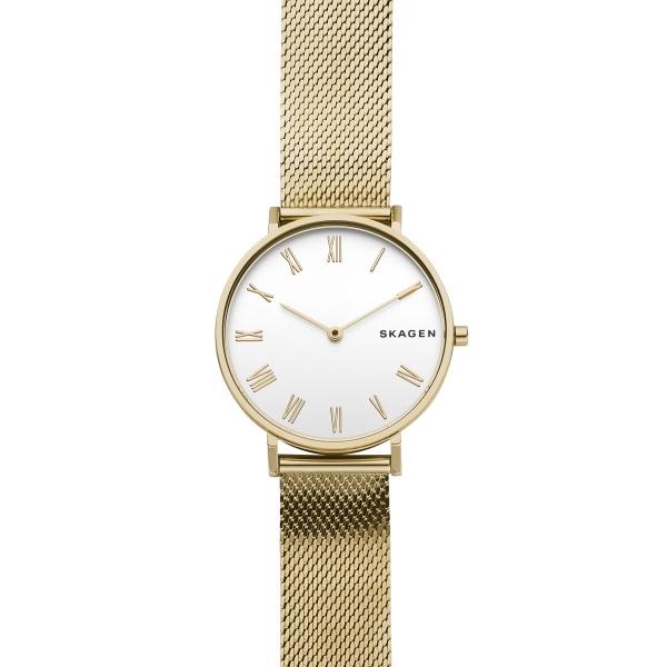 SKAGEN Hald guldfarvet armbåndsur med hvid skive og flad mesh lænke