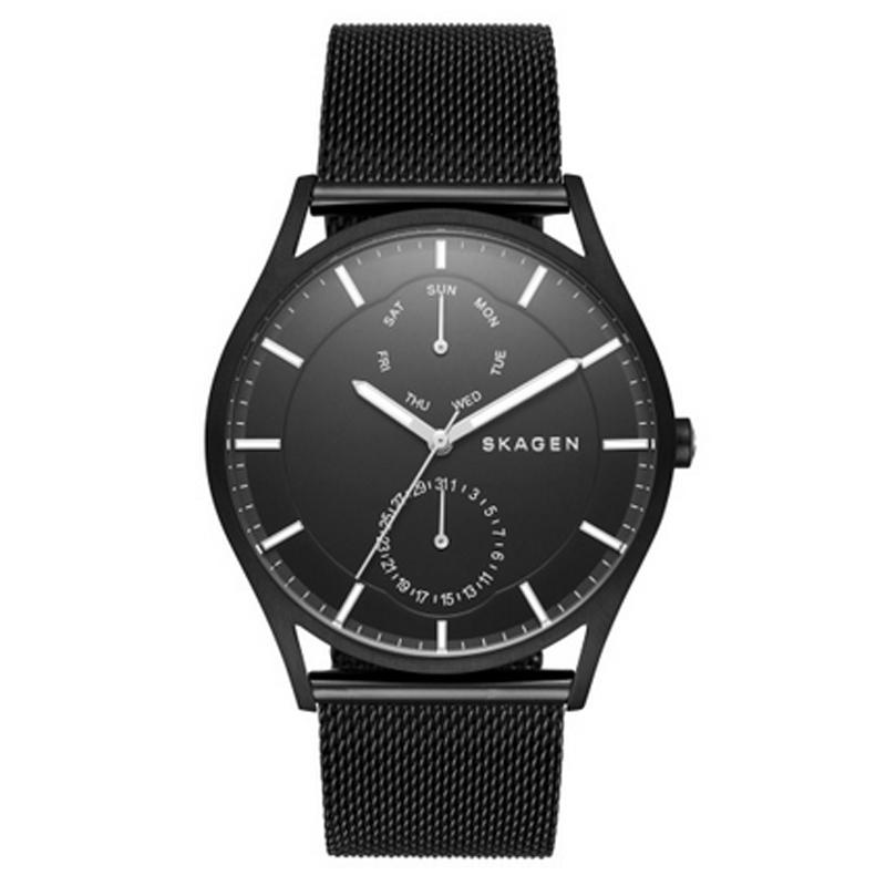Skagen Holst armbåndsur i sort stål med sort mesh lænke