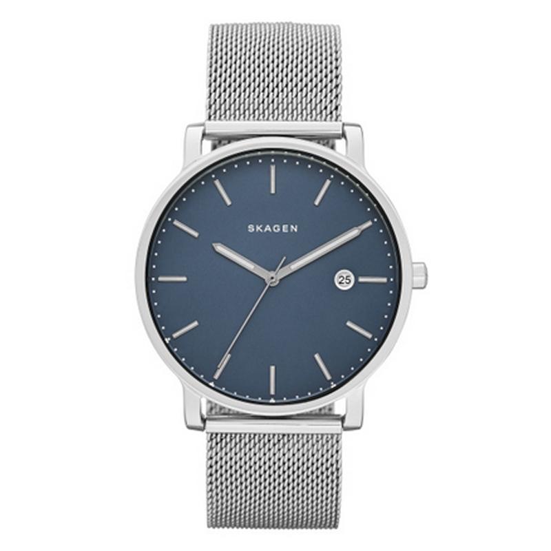 Skagen Hagen armbåndsur i stål med mesh lænke og blå skive