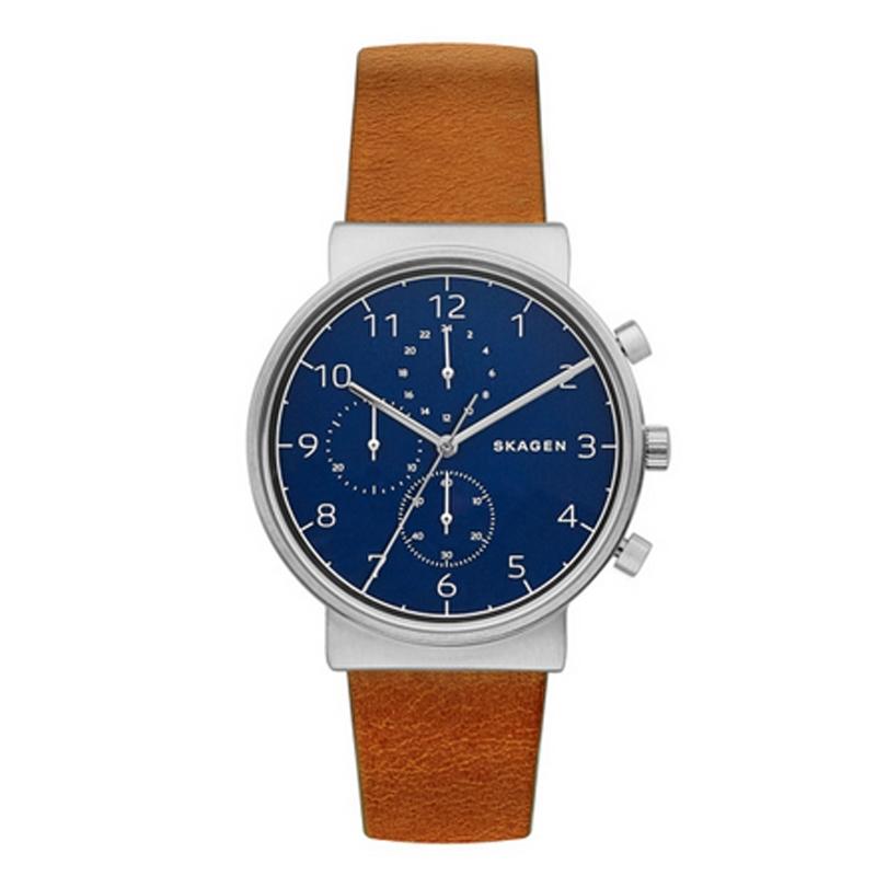 Skagen Ancher armbåndsur med chronograf med blå skive og brun rem