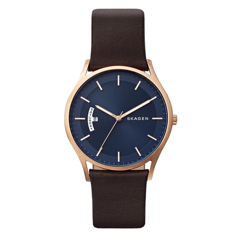 Skagen Holst armbåndsur i mat rosafarvet stål med brun læderrem og blå skive