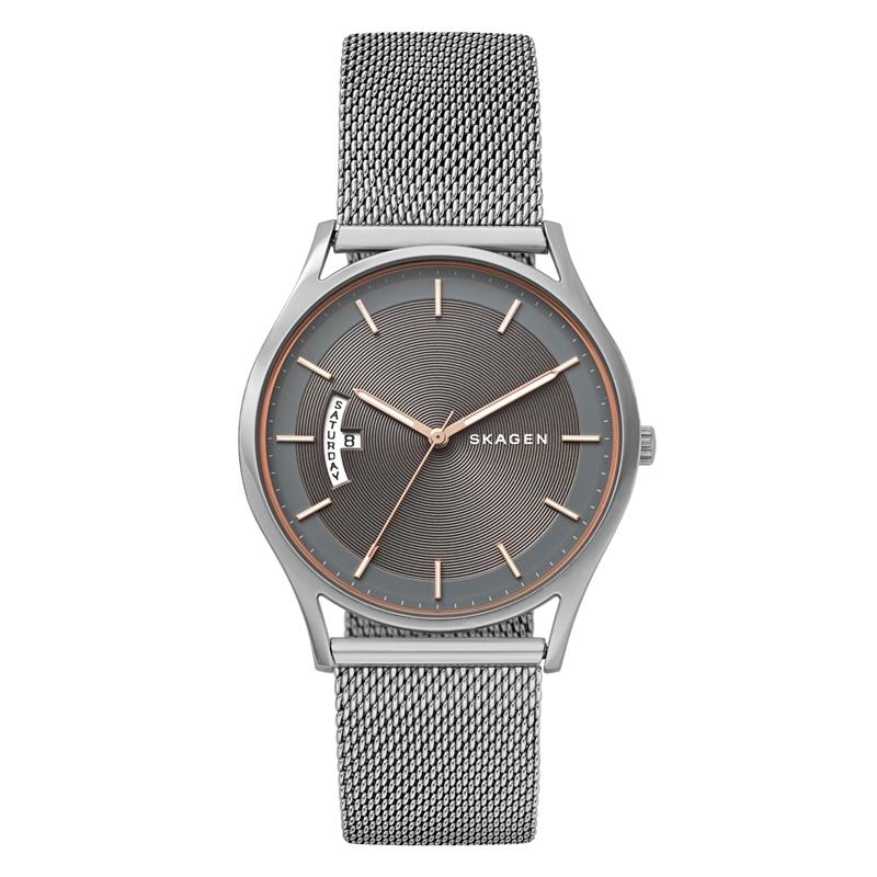 Skagen Holst armbåndsur i stål med mesh lænke