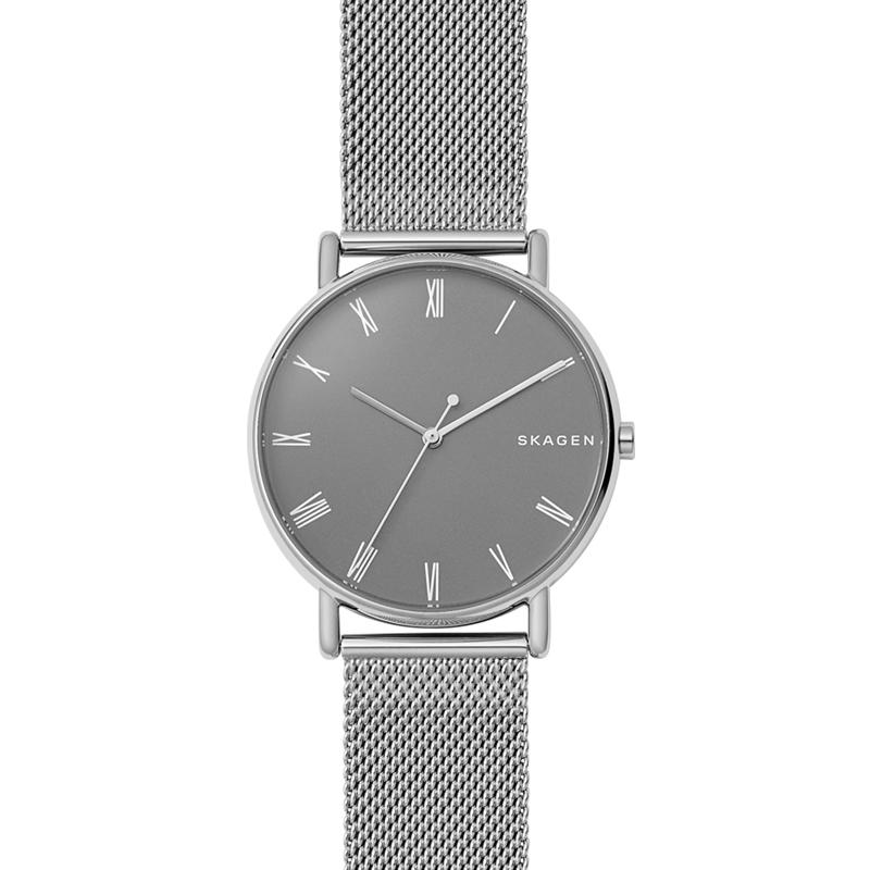 Skagen Signatur armbåndsur i stål med mørkegrå skive og mesh lænke