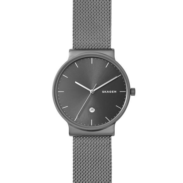 Skagen Ancher armbåndsur i sort stål med mesh lænke