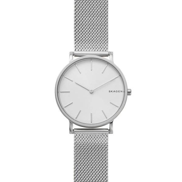 Skagen Hagen armbåndsur i stål med hvid skive og meshlænke