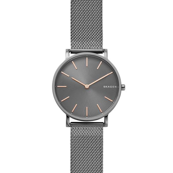 Skagen Hagen armbåndsur i sort stål med mørkegrå skive og meshlænke