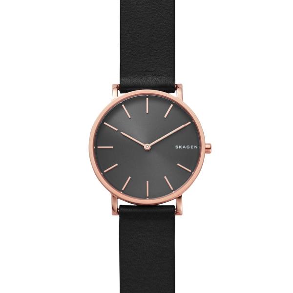 Skagen Hagen armbåndsur i rosa stål med sort skive og sort læderrem