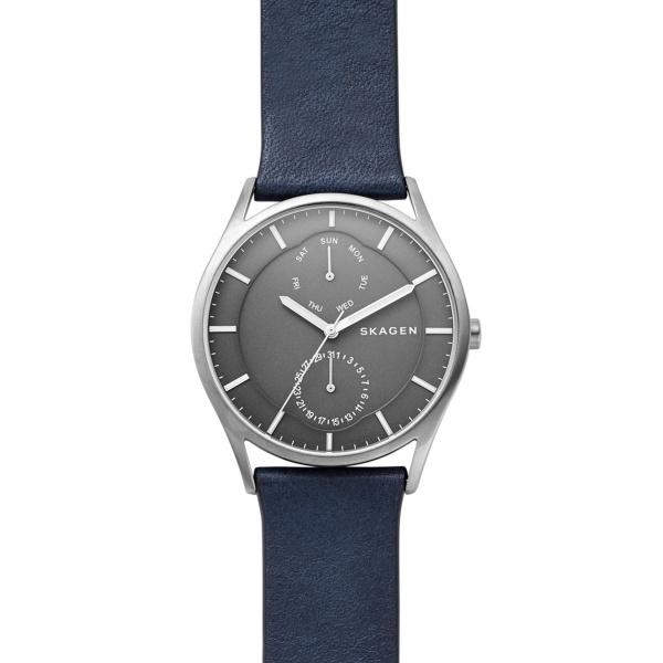Skagen Holst armbåndsur i titanium med sort skive og blå læderrem