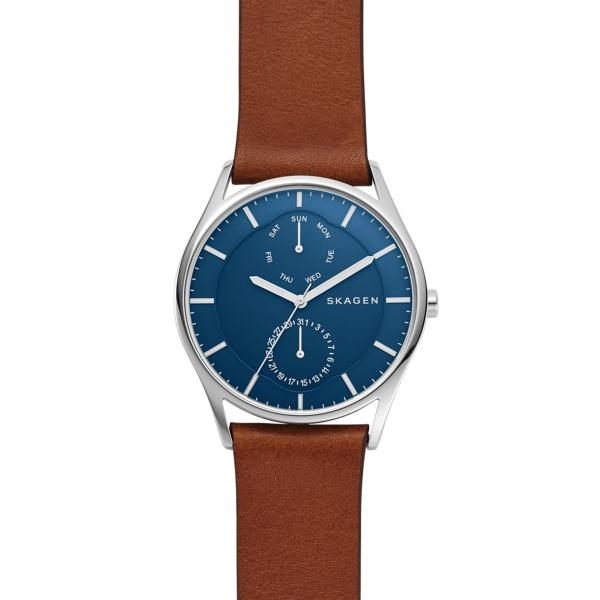 Skagen Holst armbåndsur i stål med blå skive og brun læderrem